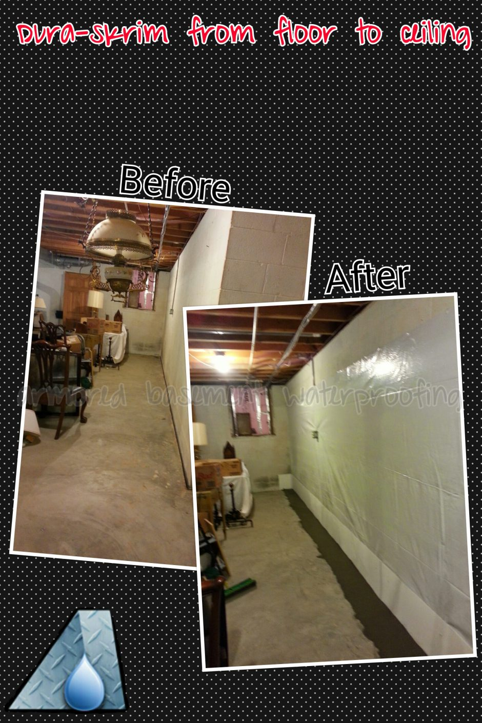 Basement Waterproofing Baltimore Maryland. Before And After